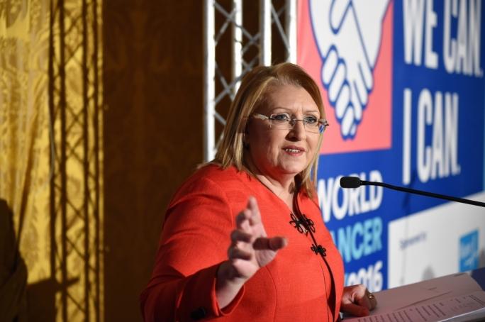 Marie Louise Coleiro Preca addresses the National Cancer Platform. Photo: Ray Attard
