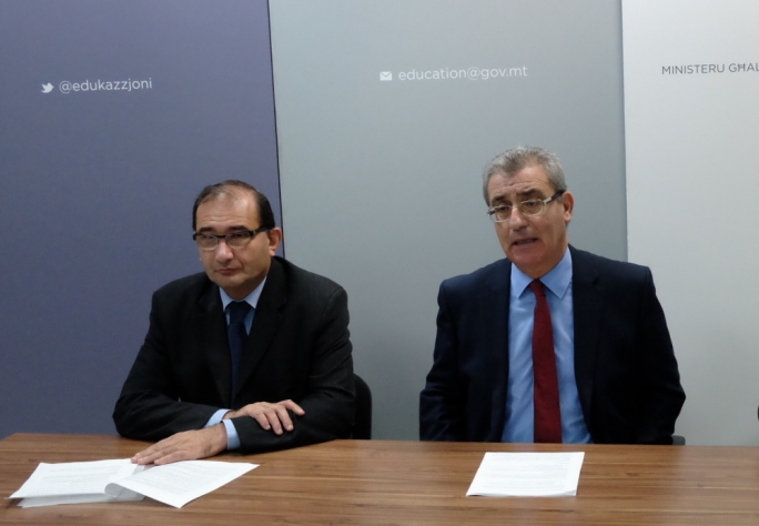 The allegations have been made against the brother of ministry permanent secretary Joseph Caruana (left). Minister Bartolo (right) said it will be Director General for Education Services director George Borg who will liaise with police on the investigation, not Caruana.