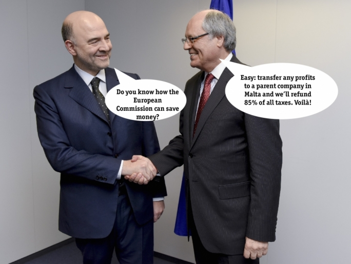 Finance Minister Edward Scicluna (right) and EU Commissioner Moscovici: Malta is dead set against tax harmonisation