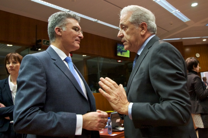 Carmelo Abela (left) and EU Commissioner Dimitris Avramopoulos