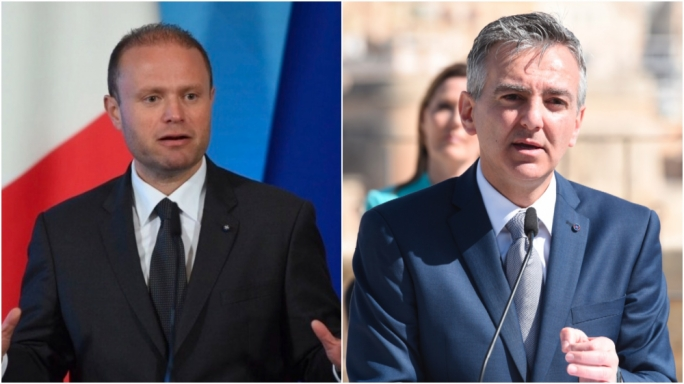 Labour Party leader Joseph Muscat (L) and Nationalist Party leader Simon Busuttil (R)