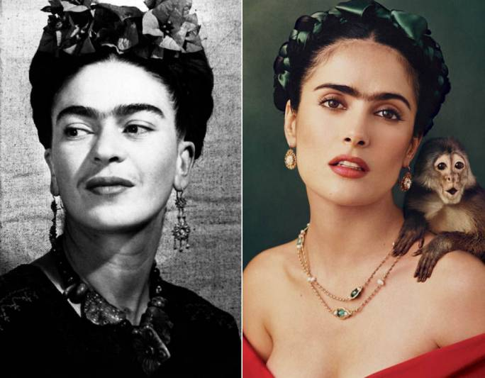 Frida Kahlo (left) and Salma Hayek as Frida (Photo: Daily Express)