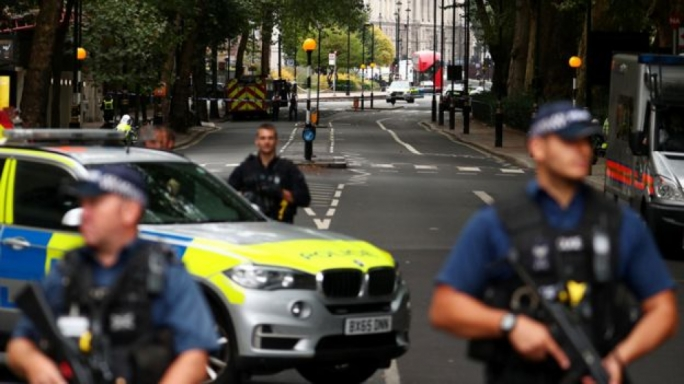 Pedestrians injured after car hits barriers at UK parliament