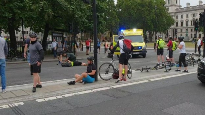 Cyclists were injured when the man drove his car into security barriers outside the House of Parliament