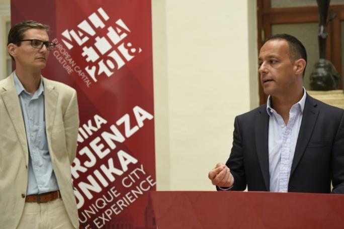 Valletta 2018 chairman Jason Micallef (right)