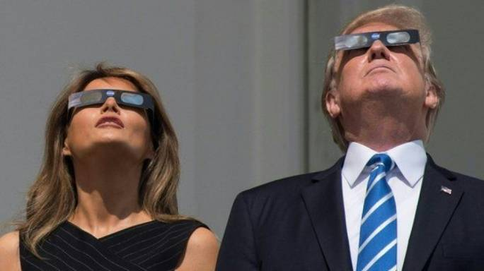 US President Donald Trump and First Lady Melania Trump saw a partial eclipse in Washington DC (Photo: AFP)