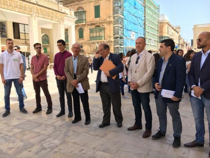 Alternattiva Demokratika chairman Arnold Cassola (fourth from left) addressing journalists