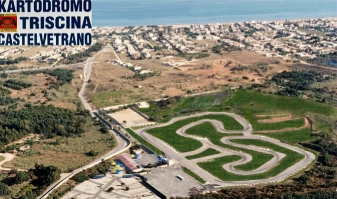 An aerial view of the 1,280 metres long green karting circuit at Triscina