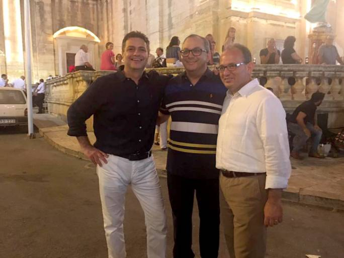 Adrian Delia, Alex Perici Calascione and Chris Said happened to meet in Qrendi as it celebrated the feast of the Assumption