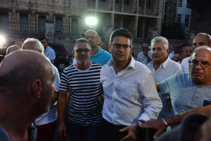 Adrian Delia outside PN headquarters Monday evening