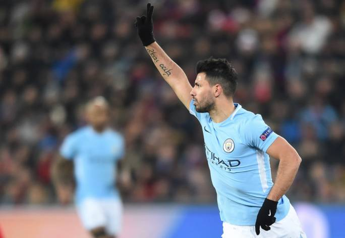 Sergio Aguero celebrating after scoring Manchester City's third goal