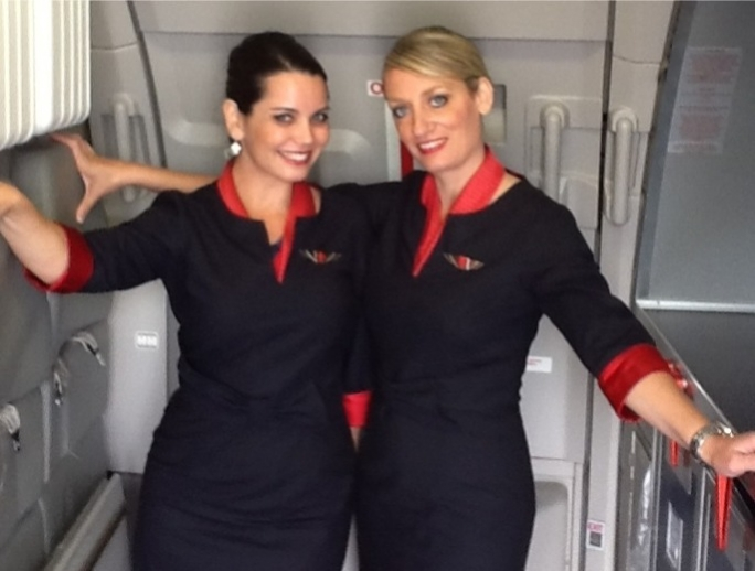 Air Malta's Cabin Crew Nicky Camilleri Kelly (right) and Josann Robertson pose in their new uniforms.