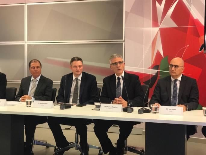 From left to right: George Abela, tourism minister Konrad Mizzi, Air Malta chairman Charles Mangion, and CEO Joe Galea
