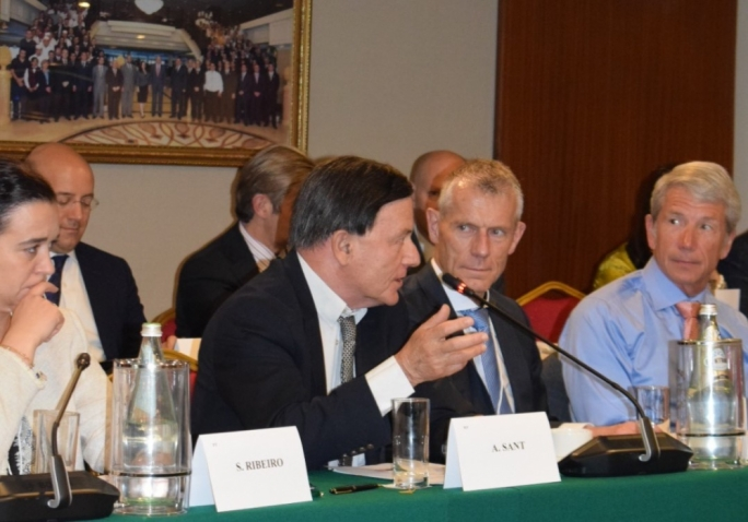 Former Prime Minister Alfred Sant addresses the 'Transatlantic Legislators Dialogue' in Valletta