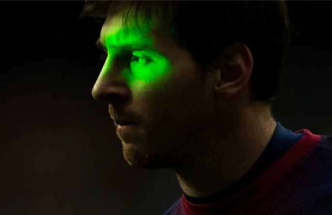 Picture of Barcelona footballer Lionel Messi presented in court as evidence of effectiveness or not of a laser beam.
