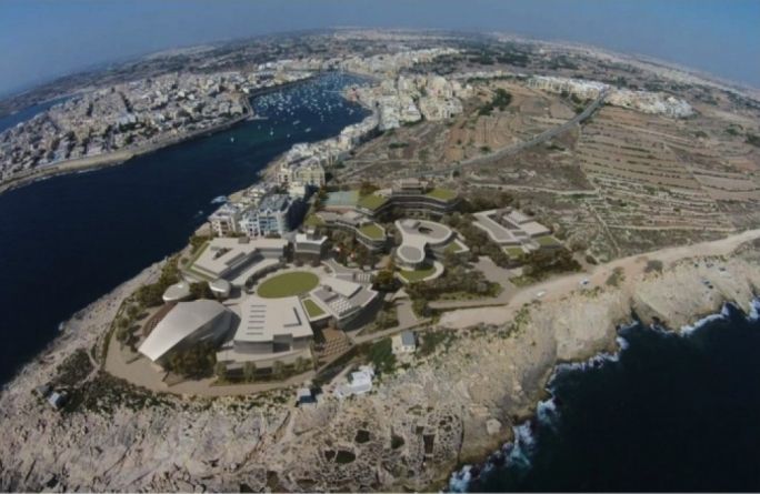 A render of the proposed AUM campus at Zonqor Point, Marsaskala
