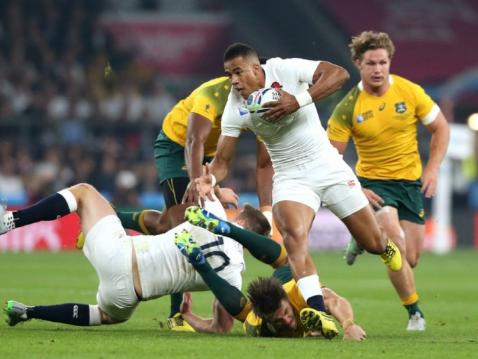 Anthony Watson of England makes a break
