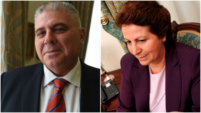 Let me help you: Labour minister Anton Refalo, and his Nationalist predecessor, Giovanna Debono