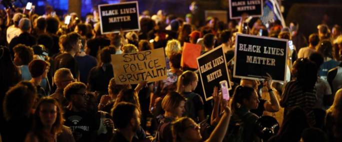 Protesters gather in St Louis on Friday 15 September (Photo: ABC News)