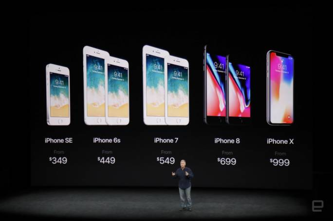 Comparison of Apple iPhone models, including new releases iPhone 8, iPhone 8 Plus and iPhone X, at Apple event yesterday. Photo: International Business Times
