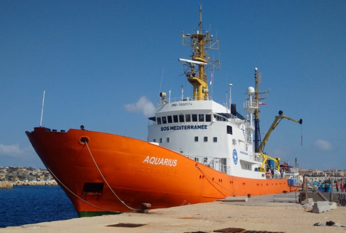 The humanitarian ship Aquarius currently 43 nautical miles off Malta's coast carrying 629 migrants