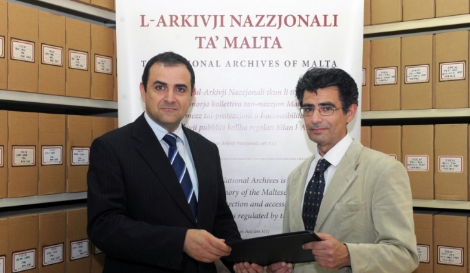 National Archivist Charles Farrugia (at left) with Prof John Chricop of the Public Memory Archive (Photo: DOI, Martin Attard)