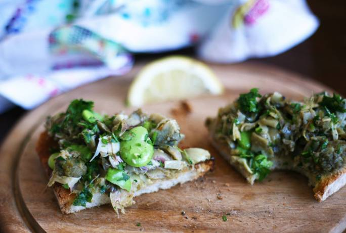 Artichoke and broad bean bruschetta
