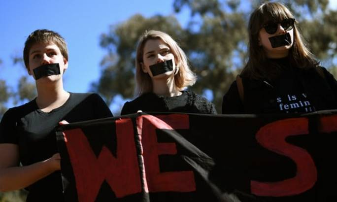 Australian National University students protest after the release of a survey revealing the levels of sexual assaults and sexual harassment