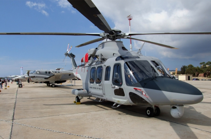 A139 helicopter (foreground) and B200 King Air of the Armed Forces of Malta air wing