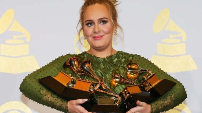 Adele, 28, won all five Grammys for which she was nominated
