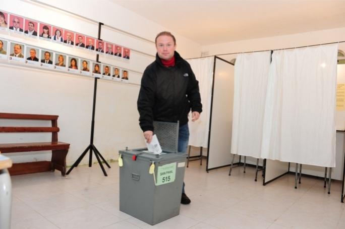 BA directives stipulate that political leaders can only be shown on TV if they cast their vote as did Joseph Muscat this morning in Burmarrad. (Photo: Ray Attard/MediaToday)
