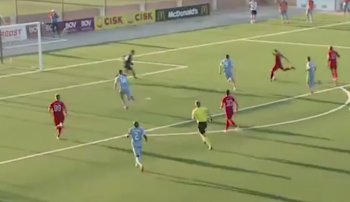 Ljubomirac about to score Balzan's second goal