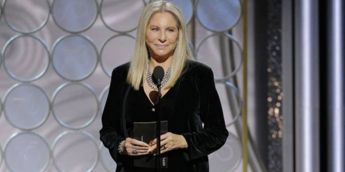 Barbara Streisand accepting her award