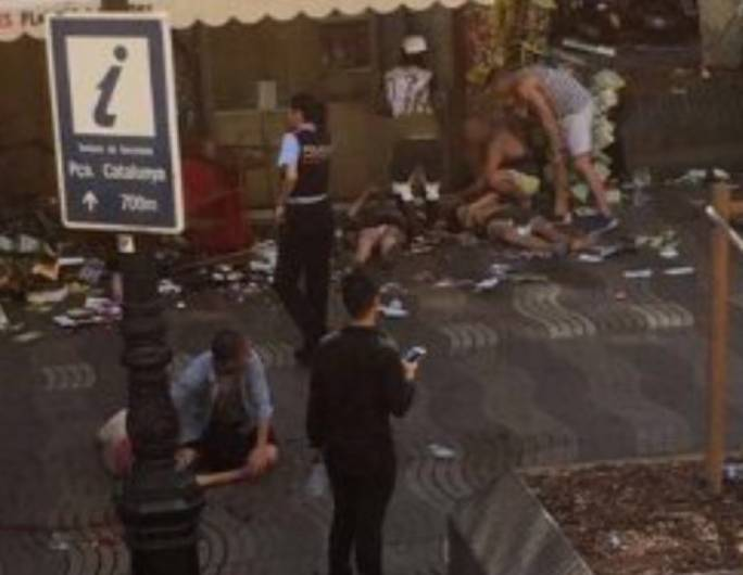 One of the first images to emerge of the van attack on Barcelona's Las Ramblas quarter