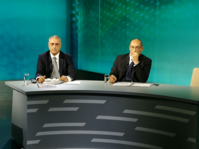 Patrijotti leader Henry Battistino (left) and Alleanza Bidla leader Ivan Grech Mintoff at the debate