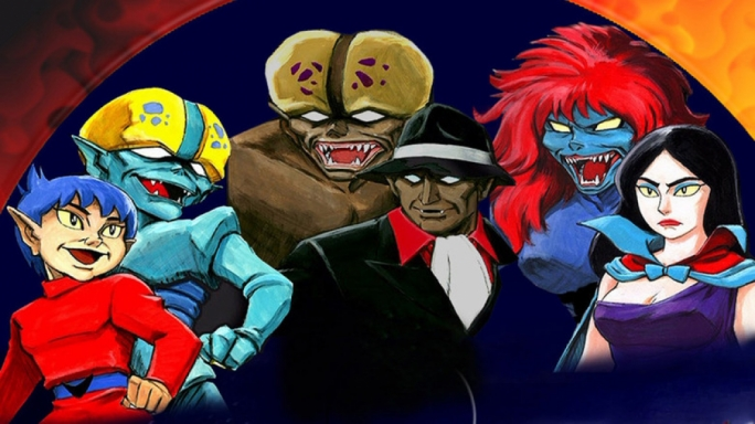 Bero (left) with monster gang leader Bem (centre) and Bera (right) fight off evil demons.