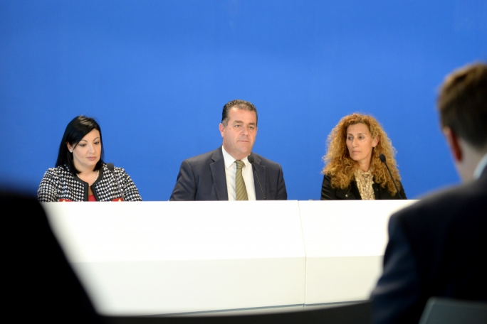 PN deputy leader Beppe Fenech Adami flanked by MP Marthese Portelli and candidate Simone Aquilina (Photo: James Bianchi/MediaToday)