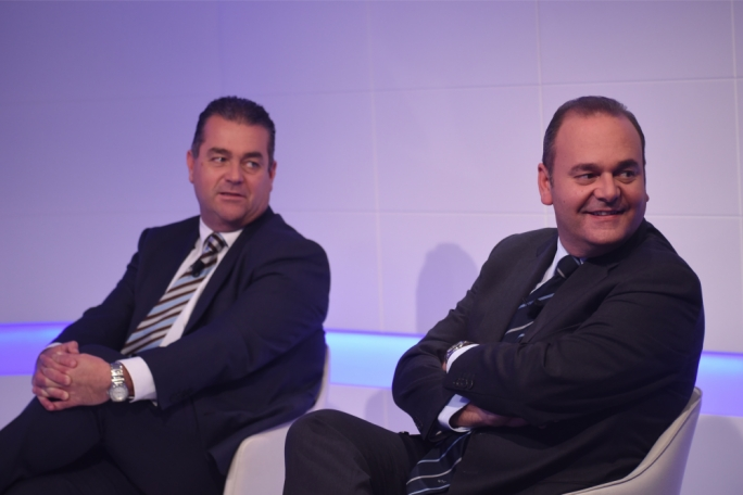 PN deputy leader Beppe Fenech Adami (left) and economy minister Chris Cardona on Xtra