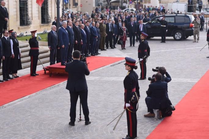 Joseph Muscat welcomes Turkish counterpart Binali Yildirim (Photo: James Bianchi /MediaToday)