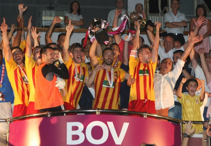 The celebrations start as Birkirkara win the BOV Super Cup
