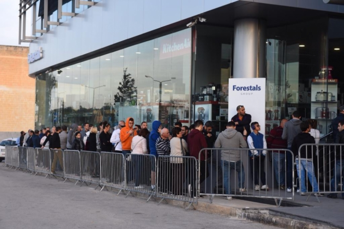 People queuing outside the Forestals establishment in Mriehel slept overnight to be first in line