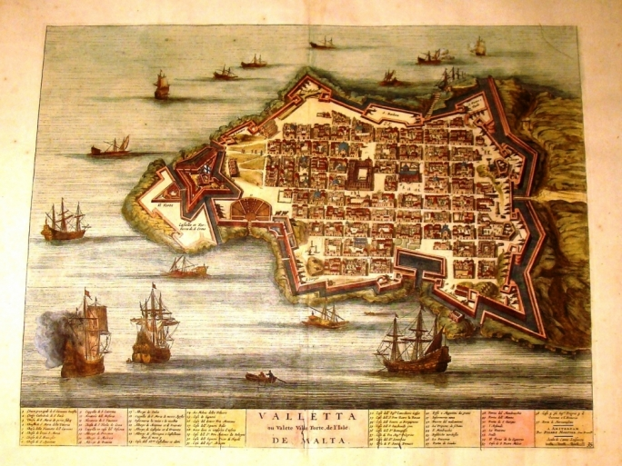 Joan Blaeu (c.1599-1673), 'Valletta Citta et Fortezza a Nell'Isola di Malta', with a key to 57 place names (Amsterdam, 1663)