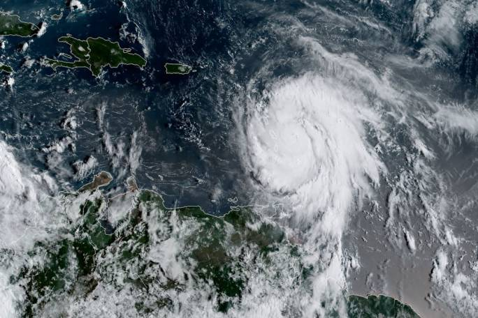 Satellite image from the National Oceanic and Atmospheric Administration showing hurricane Maria