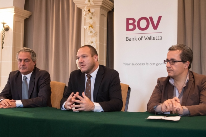 From left to right, Mark Camilleri, Deputy President of the Malta Tennis Federation, Dr David Farrugia Sacco, President of the MTF and John Paul Abela, Manager, Media and Community Relations at Bank of Valletta addressing the press conference