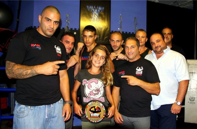 Billy Corito (L) with Francesca and some of the boxers that will be fighting on July 20
