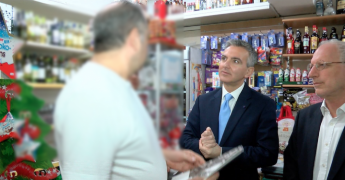 Still from One News footage that aired Simon Busuttil's meeting with Swieqi businessmen