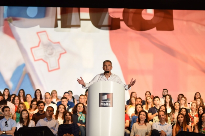 PN leader Simon Busuttil addresses his final mass meeting ahead of Saturday's electon. Photo: James Bianchi