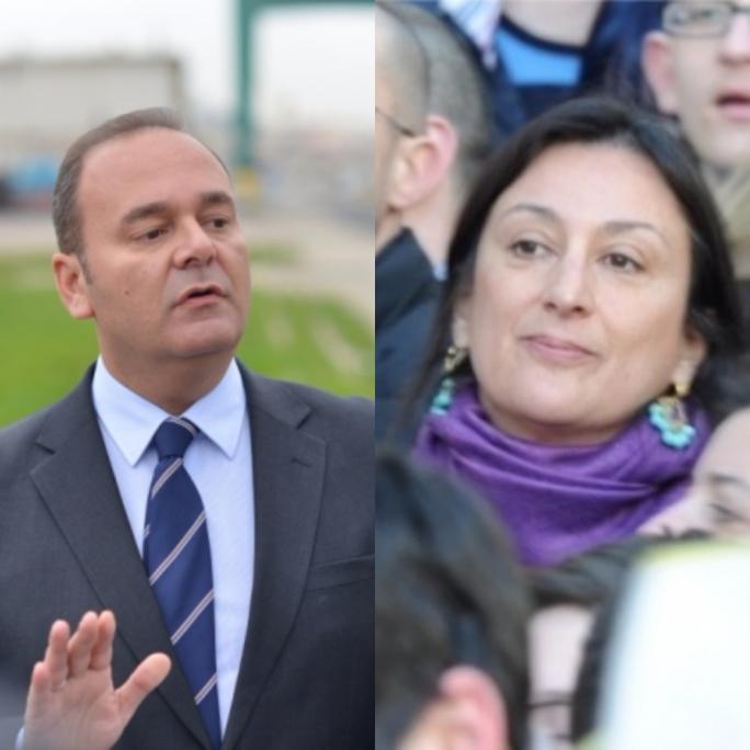 Minister Chris Cardona (left) has filed a garnishee order against blogger Daphne Caruana Galizia