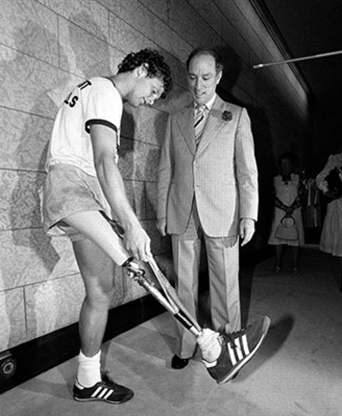 Terry Fox meets with Prime Minister Pierre Trudeau in Ottawa on July 2, 1980.