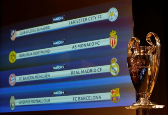 The UEFA Champions League trophy is pictured after the draw of the quarterfinals in Nyon, Switzerland March 17, 2017